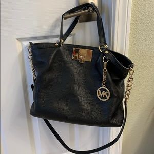 Michael Kors Channing Black Leather Large Tote